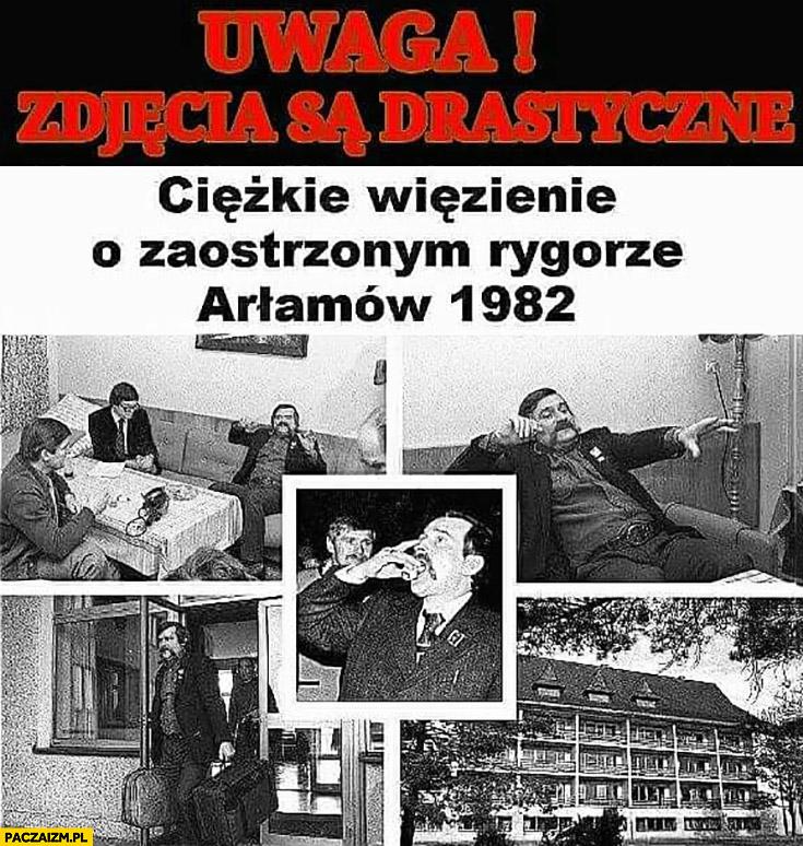 Lech Wałęsa internowany uwaga zdjęcia są drastyczne ciężkie więzienie o zaostrzonym rygorze Arłamów 1982