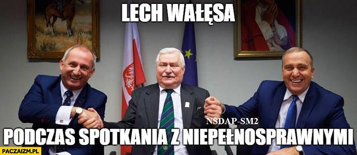 Lech Wałęsa podczas spotkania z niepełnosprawnymi Grzegorz Schetyna Neumann NSDAP-SM