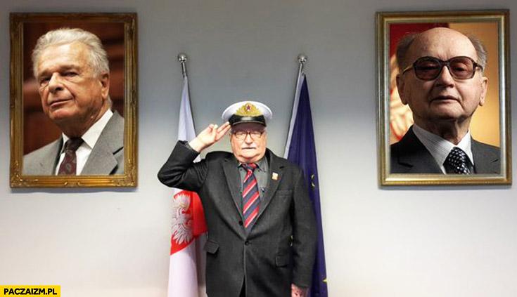 Lech Wałęsa salutuje Kiszczak Jaruzelski