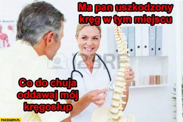 Lekarz ma pan uszkodzony kręgosłup kręg w tym miejscu, co do cholery? Oddawaj mój kręgosłup pacjent