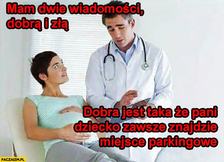 Lekarz: mam dwie wiadomości: dobrą i złą, dobra jest taka, że pani dziecko zawsze znajdzie miejsce parkingowe