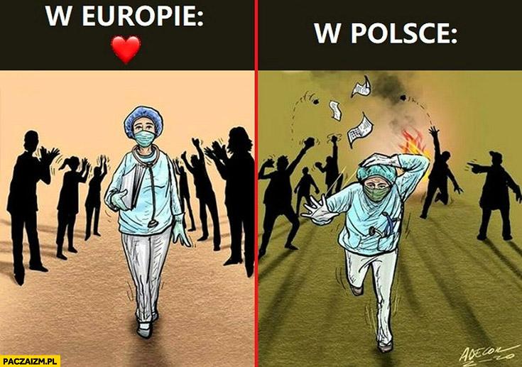 Lekarze medycy w Europie oklaskiwani, w Polsce gonieni atakowani