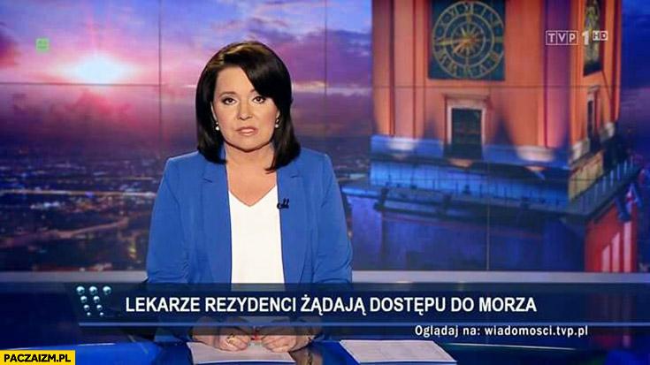 Lekarze rezydenci żądają dostępu do morza pasek napis Wiadomości TVP
