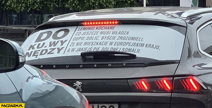 Lemingi kochane co jeszcze musi władza odpierdzielić byście zrozumieli, że nie mieszkacie w europejskim kraju a w jakiejs pieprzonej Somalii napis na aucie samochodzie