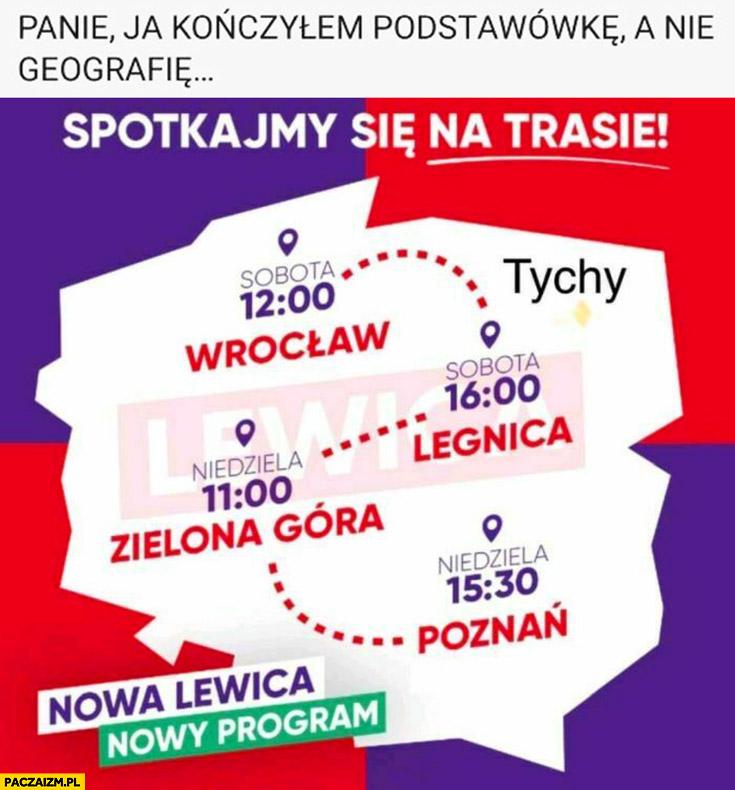 Lewica mapa Polski miasta trasa panie ja kończyłem podstawówkę a nie geografię