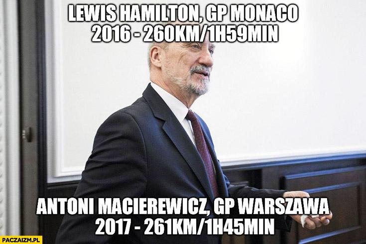 Lewis Hamilton GP Monaco 260km w 2 godziny, Macierewicz GP Warszawa 261km w 1h 45min
