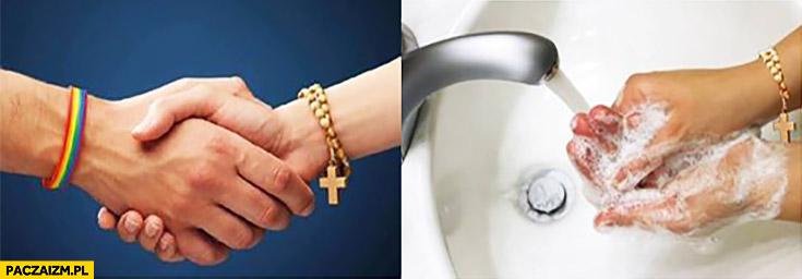 LGBT katolicy uścisk dłoni myje ręce. Plakat reklama kampania społeczna