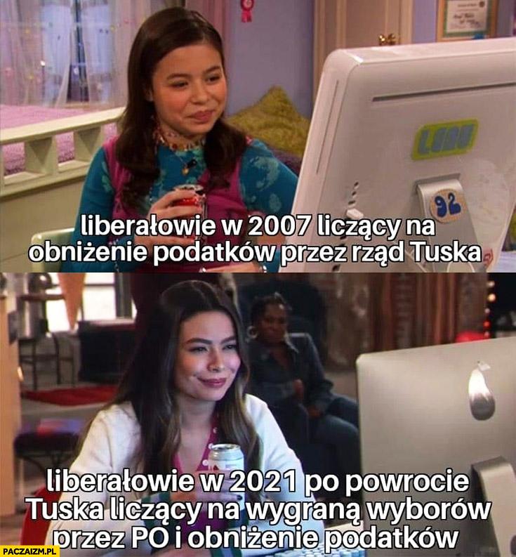 Liberałowie w 2007 liczący na obniżenie podatków przez rzad Tuska vs liberałowie w 2021 po powrocie Tuska liczący na wygrana wyborów przez po i obniżenie podatków