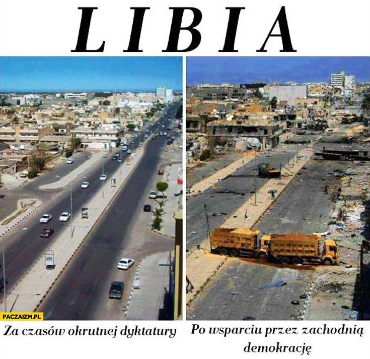 Libia za czasów okrutnej dyktatury. Po wsparciu przez zachodnią demokrację
