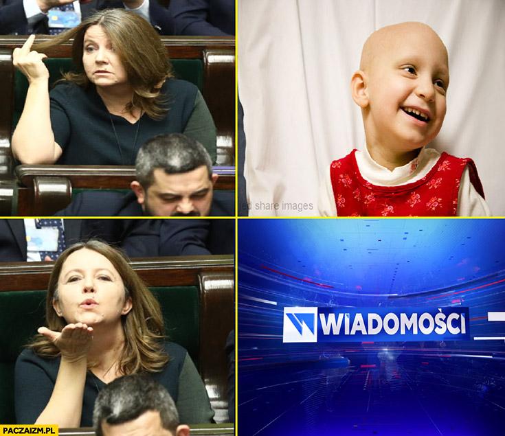 Lichocka dzieci chore na raka środkowy palec Wiadomości TVP śle całusy buziaki