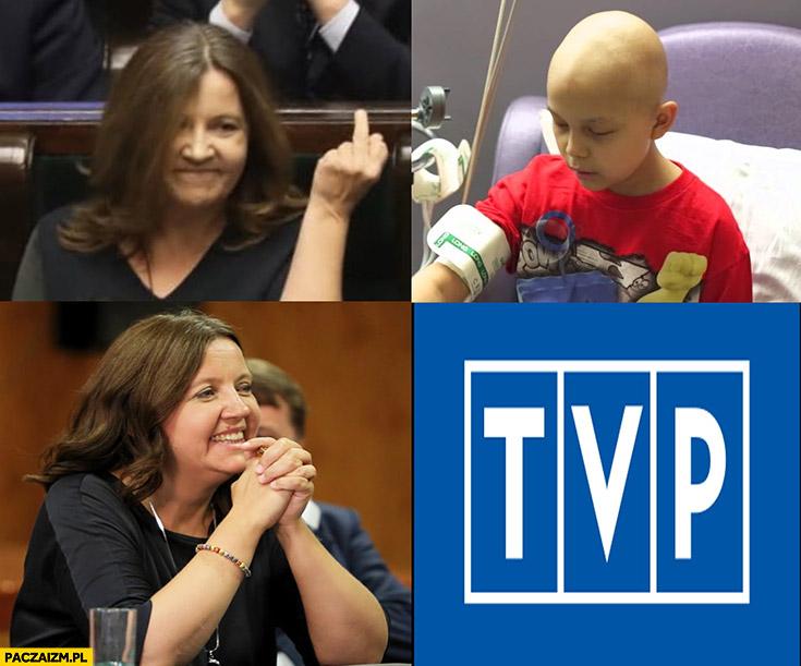 Lichocka pokazuje środkowy palec chorym dzieciom, woli TVP