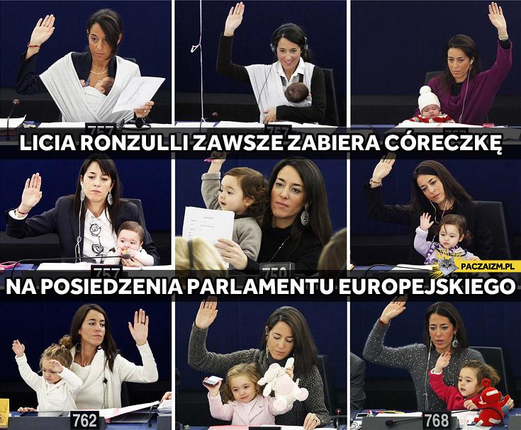 Licia Ronzulli z córeczką w Parlamencie Europejskim