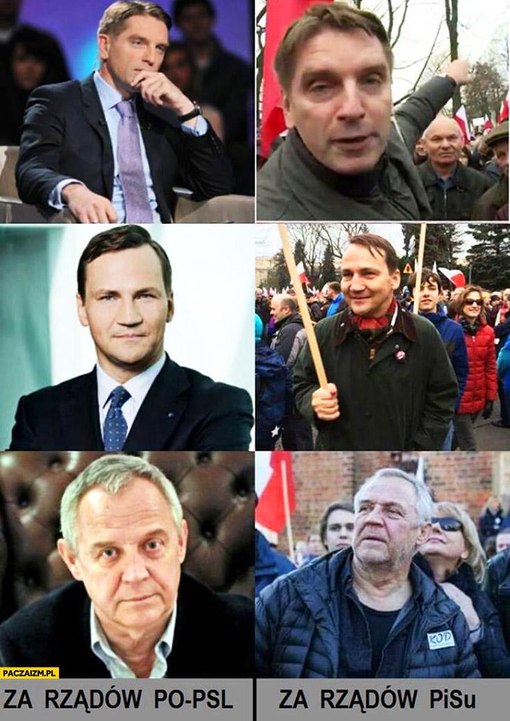 Lis, Sikorski, Kondrat za rządów PO i PSL, za rządów PiS porównanie