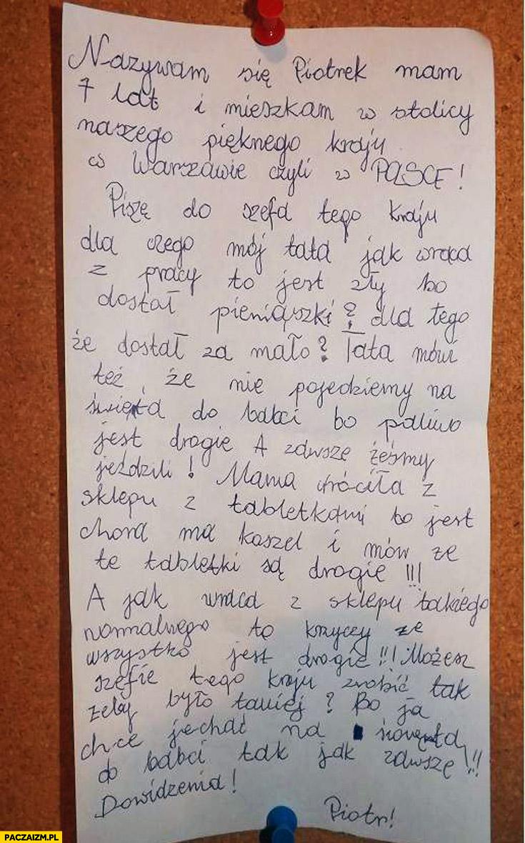 List do szefa tego kraju Polska wszystko jest drogie