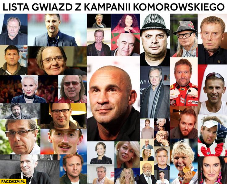 Lista celebrytów gwiazd z kampanii Komorowskiego Platforma Obywatelska