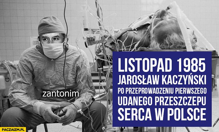 Listopad 1985 Jarosław Kaczyński po przeprowadzeniu pierwszego udanego przeszczepu serca w Polsce