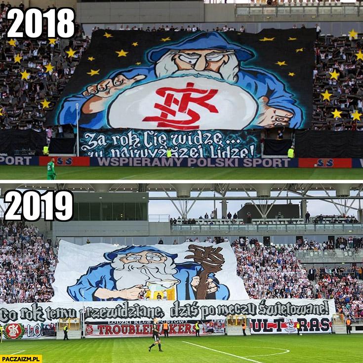 ŁKS Łódź 2018 za rok Cię widzę w najwyższej lidze, 2019 co rok temu przewidziane dziś po meczu świętowane