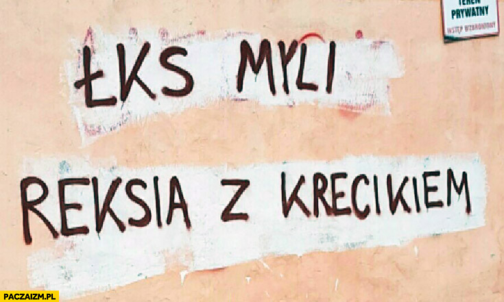 ŁKS myli Reksia z Krecikiem napis na murze
