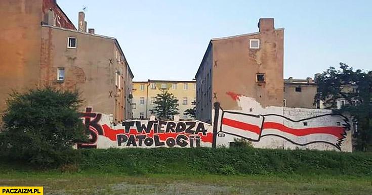 ŁKS twierdza patologii graffiti napis na murze
