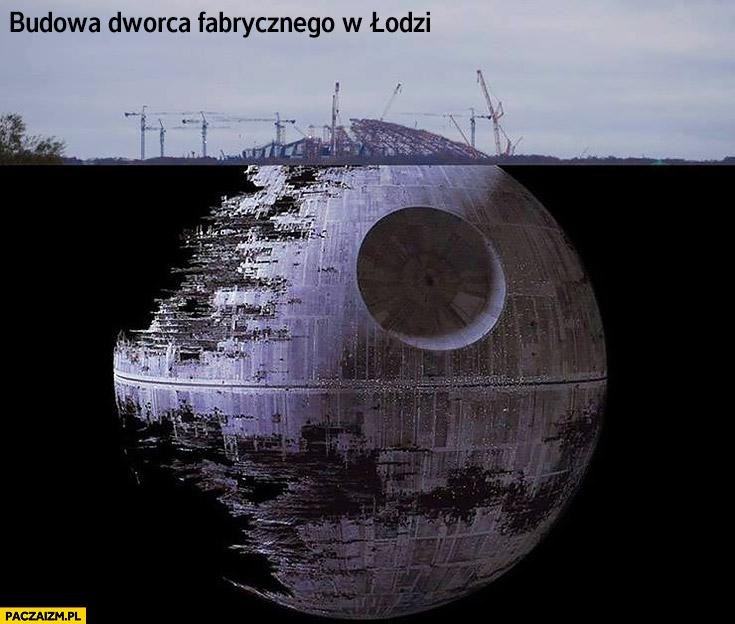 Łódź budowa dworca fabrycznego gwiazda śmierci