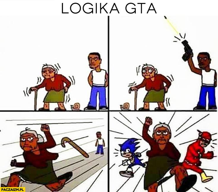 Logika GTA babcia biega po strzale