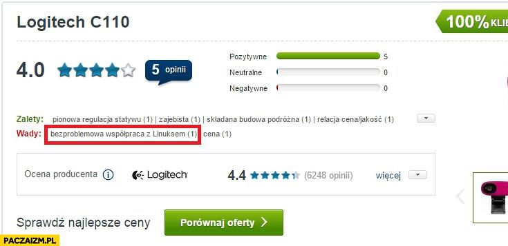 Logitech C110 wady: bezproblemowa współpraca z Linuksem