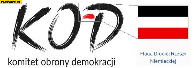 Logo KOD flaga drugiej rzeszy niemieckiej komitet obrony demokracji