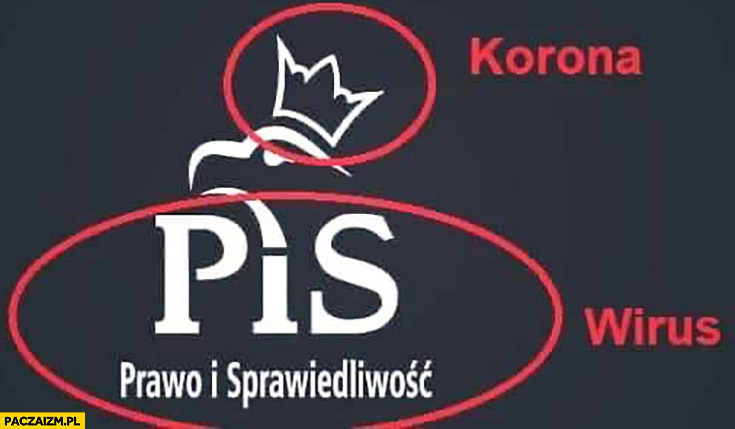 Logo PiS korona i wirus koronawirus