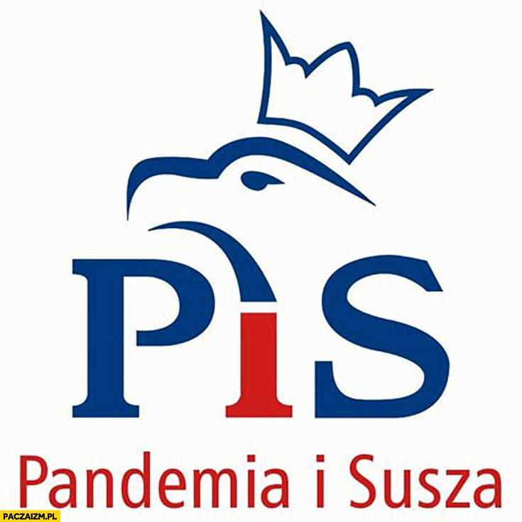 Logo PiS pandemia i susza prawo i sprawiedliwość