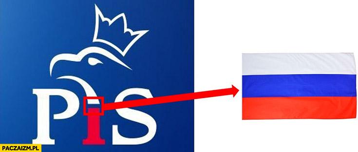 Logo PiS ruska flaga zawiera ruską rosyjską flagę ciekawostka Rosja