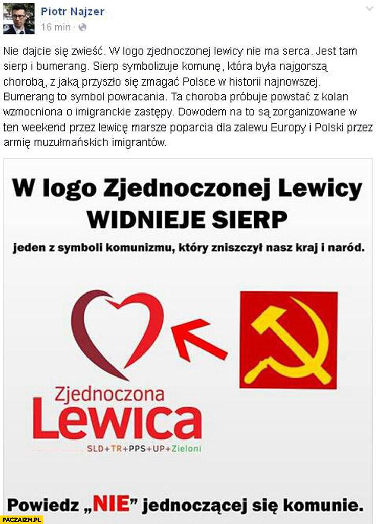 Logo zjednoczonej lewicy sierp i bumerang Najzer