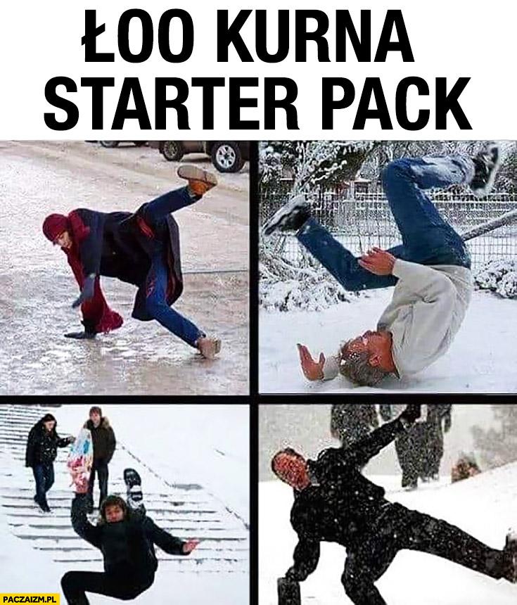 Łoo kurna starter pack ludzie wywracają się na lodzie śniegu
