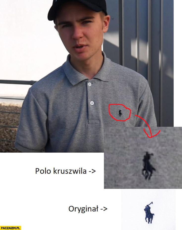 Lord Kruszwil podróbka nieoryginalne polo Rauph Lauren porównanie logo podrobione