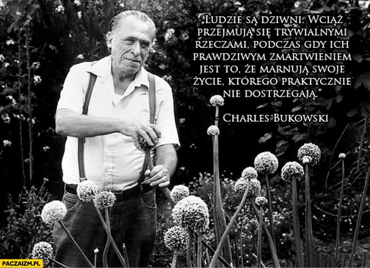 Ludzie są dziwni wciąż przejmują się trywialnymi rzeczami podczas gdy ich prawdziwym zmartwieniem jest to że marnują swoje życie którego praktycznie nie dostrzegają Charles Bukowski