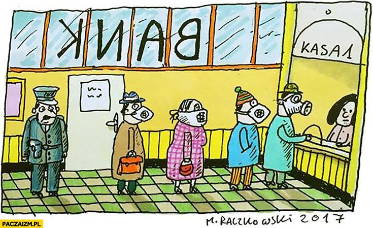 Ludzie w banku w maseczkach na twarzy jak napad smog