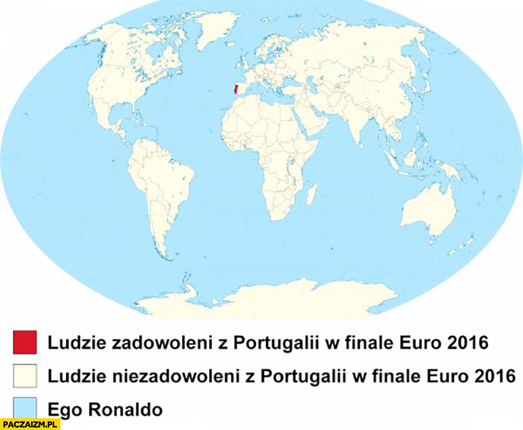 Ludzie zadowoleni z Portugalii w finale Euro 2016, ludzie niezadowoleni, ego Ronaldo. Mapa świata legenda