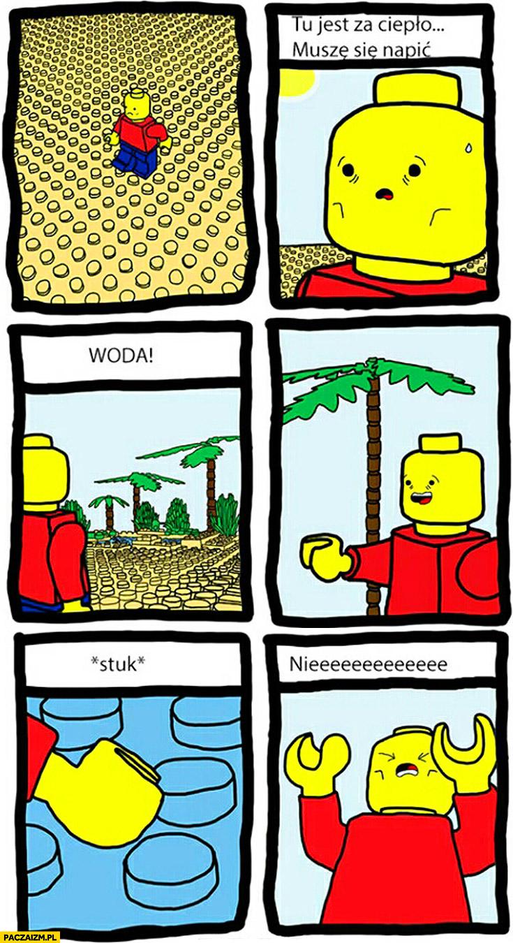 Ludzik LEGO muszę się napić woda stuk nieee komiks