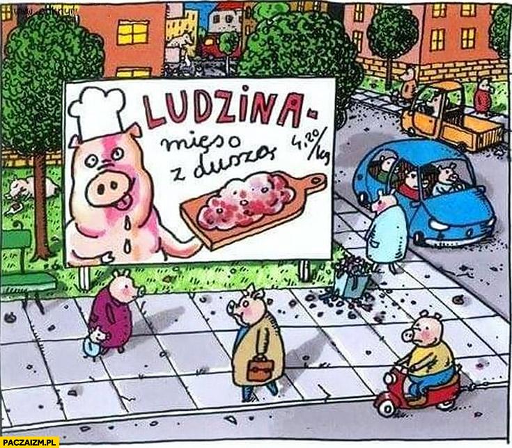 Ludzina mięso z duszą świnie prosiaki
