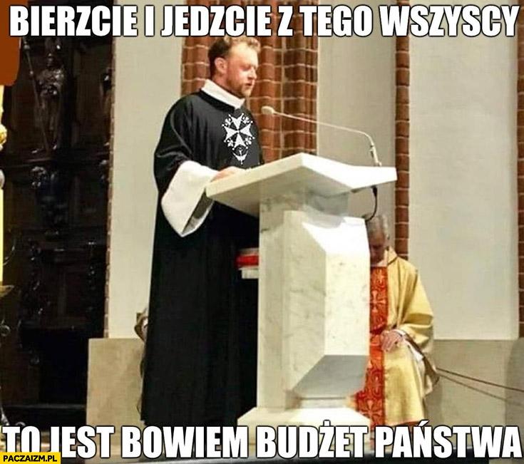 Łukasz Szumowski ksiądz bierzcie i jedzcie z tego wszyscy to jest bowiem budżet państwa