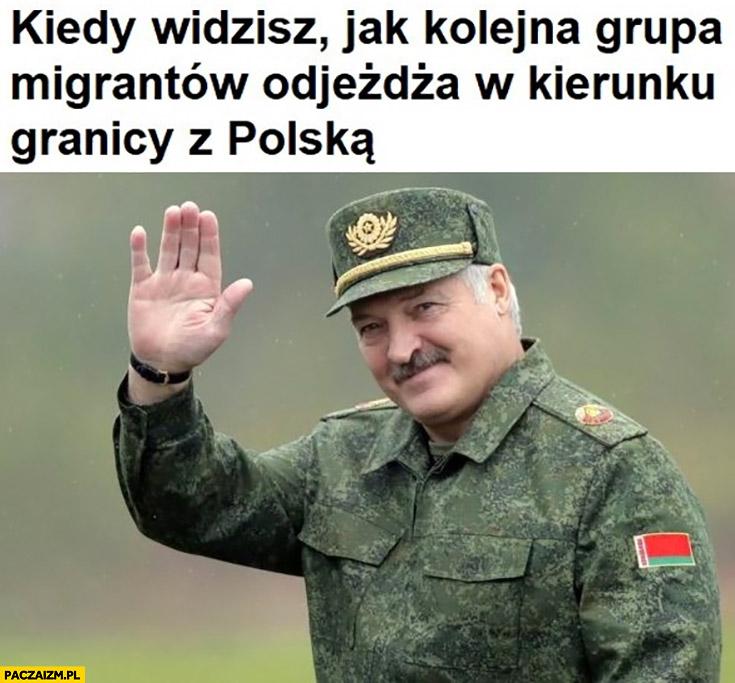 Łukaszenka kiedy widzisz jak kolejna grupa migrantów odjeżdża w kierunku granicy z Polską