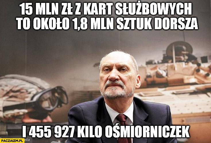 Macierewicz 15 mln z kart służbowych to około 18 mln sztuk dorsza i 455 927 kilogramów ośmiorniczek