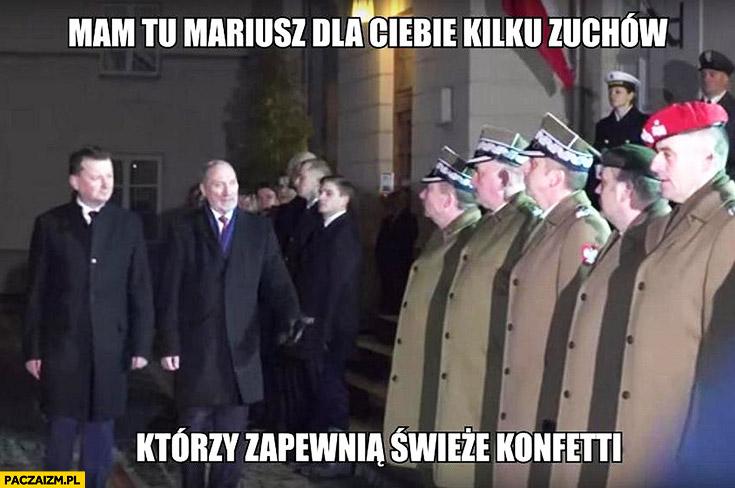 Macierewicz Błaszczak mam tu Mariusz dla Ciebie kilku zuchów którzy zapewnią świeże konfetti żołnierze