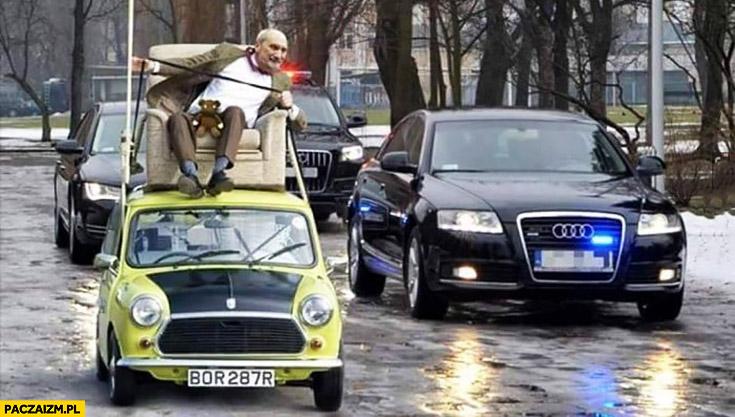 Macierewicz Jaś Fasola na dachu Mini Coopera kolumna rządowa BOR