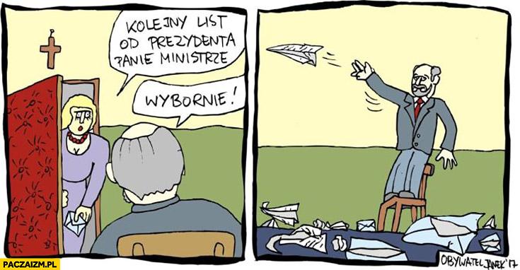 Macierewicz kolejny list od prezydenta panie mistrze wybornie puszcza samolocik z papieru Obywatel Janek