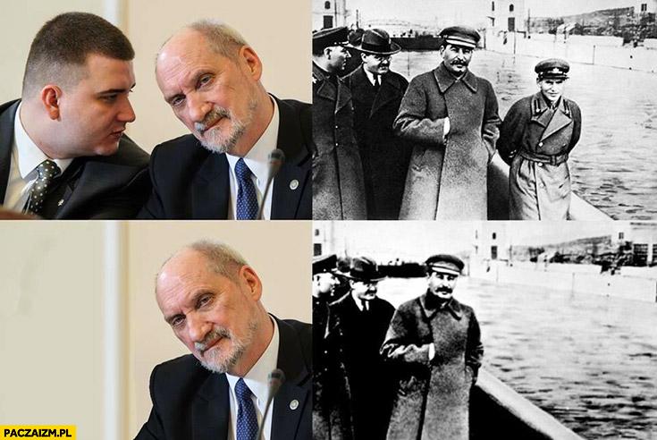 Macierewicz Misiewicz wymazany ze zdjęcia jak u Stalina przeróbka photoshop