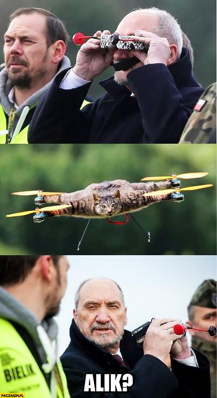 Macierewicz patrzy przez lornetkę kot dron nadlatuje Alik?