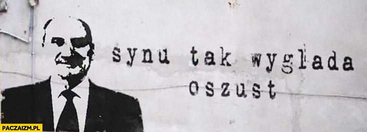 Macierewicz synu tak wygląda oszust napis na murze