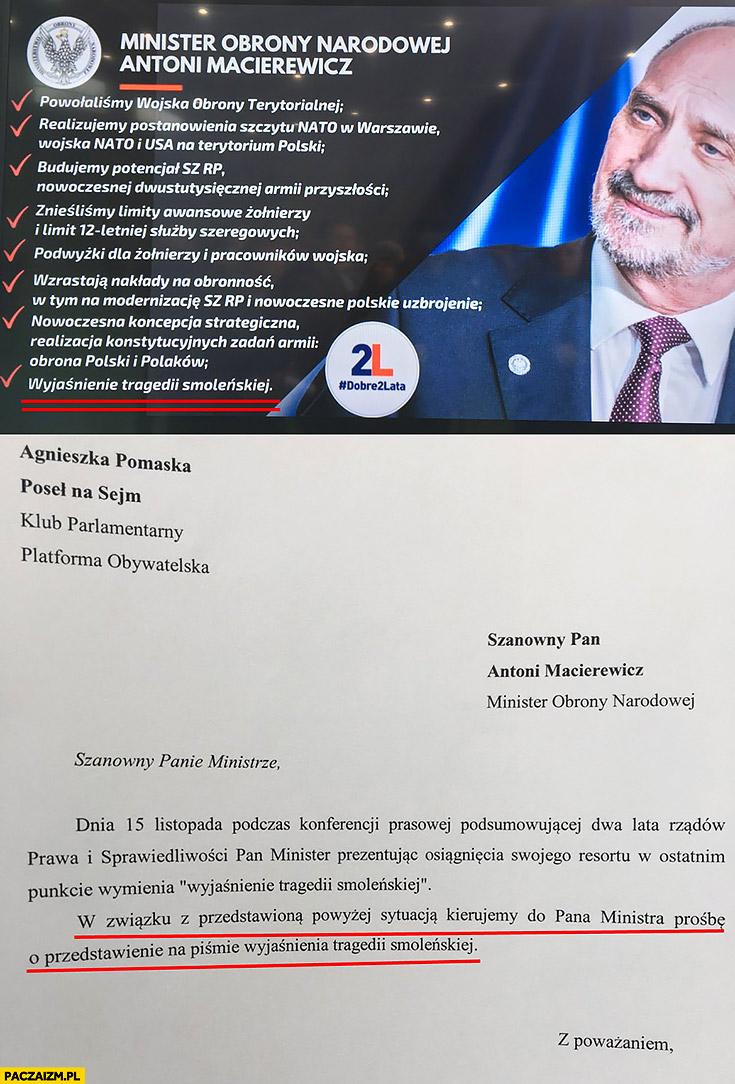 Macierewicz wyjaśnienie tragedii Smoleńskiej prośba o przedstawienie na piśmie wyjaśnienia tragedii Smoleńskiej