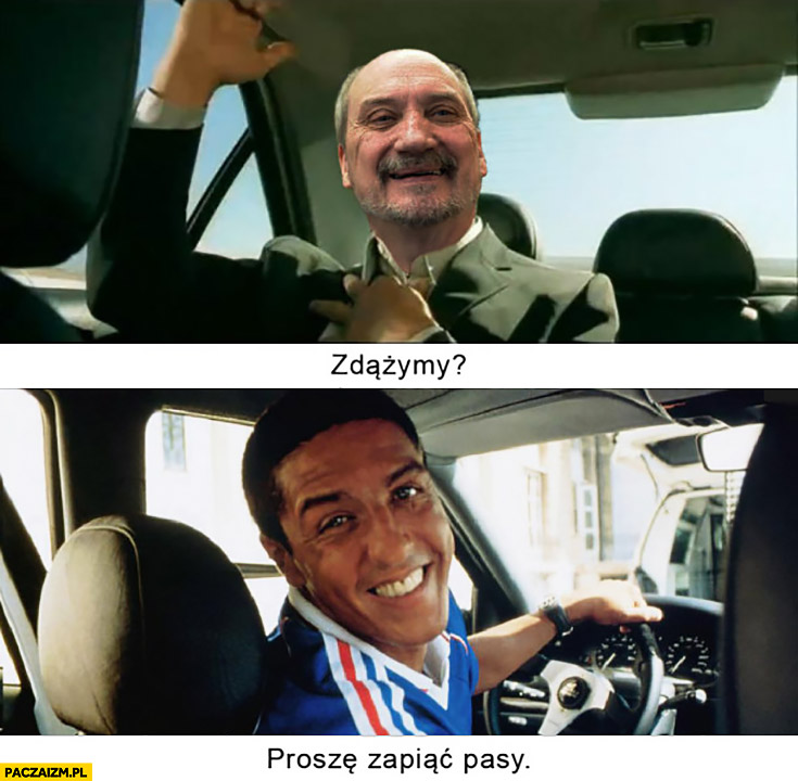 Macierewicz zdążymy proszę zapiąć pasy film Taxi wypadek
