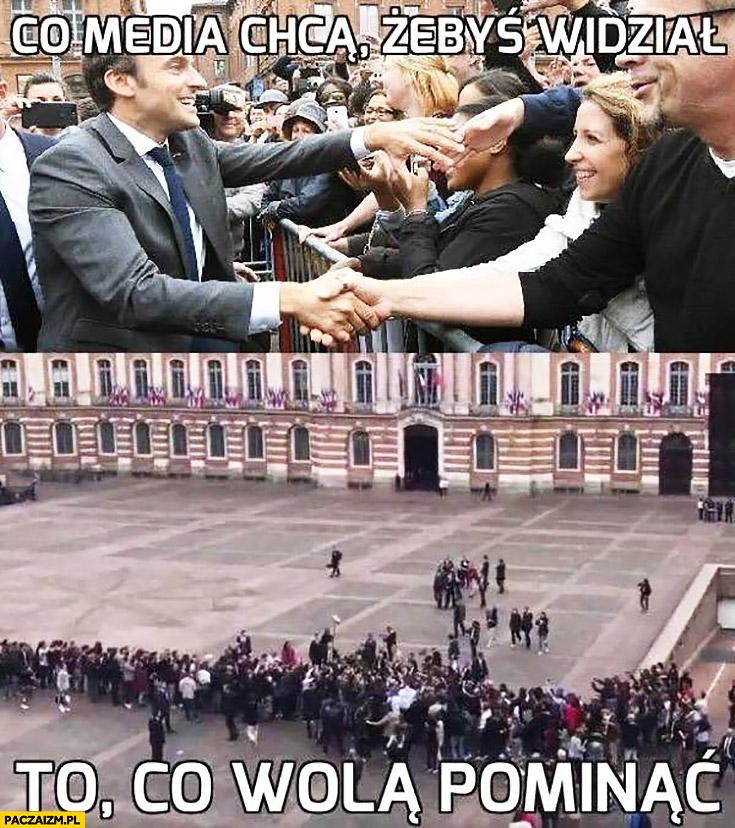Macron co media chcą żebyś widział, to co wolą pominąć. Plac pełen ludzi tak naprawdę pusty